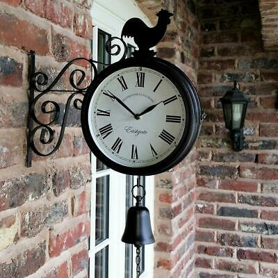 Outdoor Garden Wall Station Clock Double Sided Cockerel And Bell With Bracket