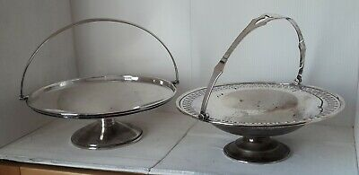 Vintage 2 silver plated Sheffield Round Swing Handled Fruit Dishes