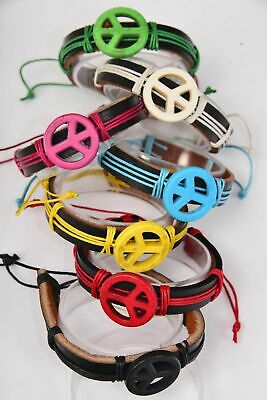 Lot Of 12 Leather Bracelets  Peace Sign Wristband Pink Blue Yellow Red Green