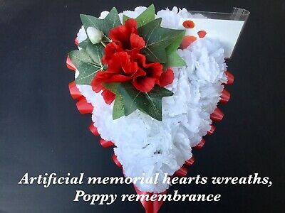 Artificial silk funeral flowers memorial Wreath Heart Poppy Remembrance Tribute