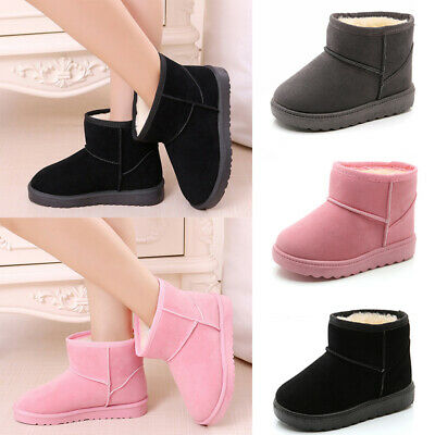 Kids Girls Winter Warm Snow Boots Fur Lined Flats Ankle Boots Toddler Shoes Size