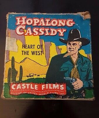 "Castle Films Hopalong Cassidy ""Heart of The West"" 16mm Film w/ Box No. 563"