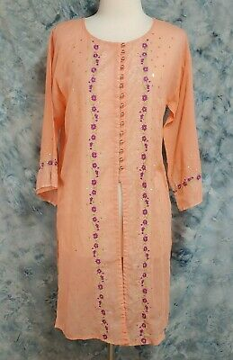 Fei NWT Womens sz S Peach Purple Floral Embroidered Sheer Side Splits Top