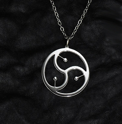 Unisex BDSM Symbol Pendant Necklace - Triskelion in Circle - UK Stock