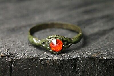 Rare Ancient Viking Bronze Red Stone Ring , Antique Authentic, 6-11 Century AD.