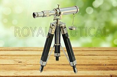 """Nautical Collectible 10"""" Telescope Chrome Finish Brass With Black Wooden Tripod"""