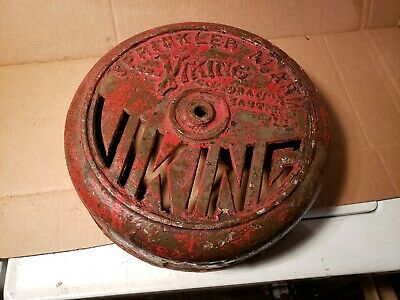 Antique Cast Iron VIKING SPRINKLER ALARM BELL COVER lighted clock sigh project