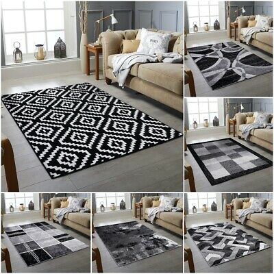 Modern Area Rug Black Grey Soft Large Living Room Floor Bedroom Carpet Rugs