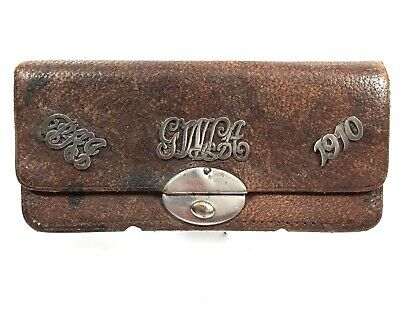 Edwardian Ladies / Gents Leather Purse / Wallet / Antique Fashion / With Silver