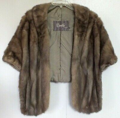 Mink Fur Shawl Browns Stole Wrap Wedding Prom Formal Vintage Fully Lined Repair