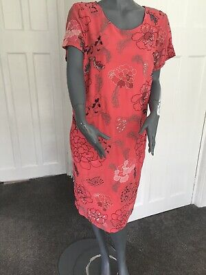 New MARK /& SPENCER PER UNA  Midi Dress Red Pink Floral RRP £45 10-22 Dipped Hem