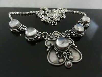 Stunning Antique Victorian Ornate 925 S. Silver Moonstones Necklace Pendant