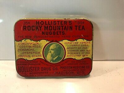 Hollisters Rocky Mountain Tea Nuggets Tin Madison Wi Druggist Apothecary Antique
