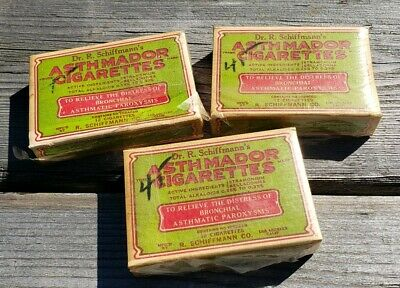 Antique Schiffmann's medical Quack medicine CIGARETTES for Asthma 3  full packs