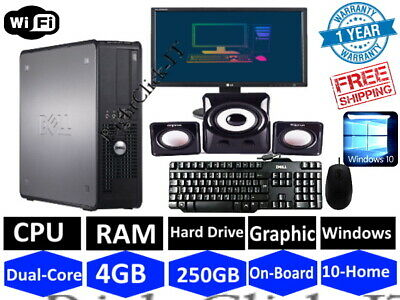DELL/HP DUAL CORE DESKTOP SFF PC COMPUTER BUNDLE WIN 10,4GB,250GB & Speaker