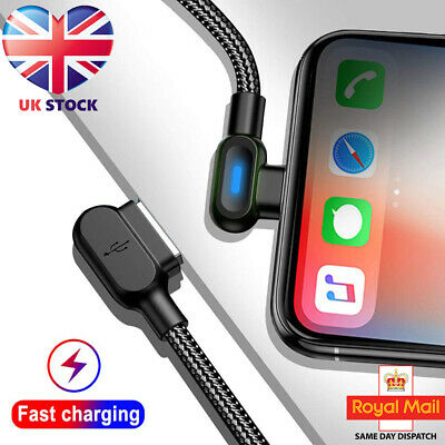 Heavy Duty LED Braided Lightning USB Charger Cable 1M 2M 3M iPhone 11 X 7 6
