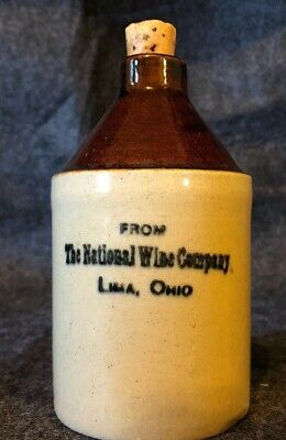 Vtg Mini Crock Jug National Wine Co. Off. Post Office, LIMA OH OHIO MS3.4