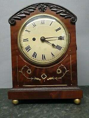 Antique Flame Mahogany Fusee 8 Day Table Clock with Brass Boulle Work