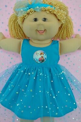 "Play n Wear Dolls Clothes For 16"" Cabbage Patch  TURQUOISE SEQUIN DRESS~HEADBAND"
