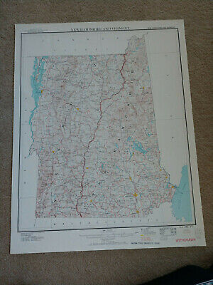 22x28 1961 reprint New Hampshire and Vermont Map - Geological Survey