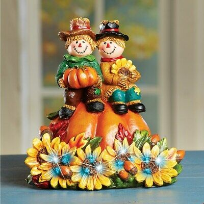 Fiber Optic Fall Scarecrows & Sunflowers Thanksgiving Tabletop Centerpiece