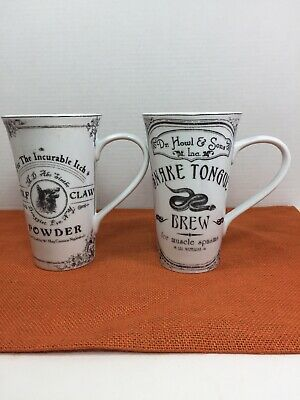 NEW Set of 2~ 222 FIFTH HALLOW APOTHECARY Halloween MUGS Snake Tongue-Wolf Claw
