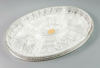 Vintage silver plate tray 5-section lead crystal serving platter chased floral