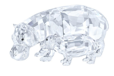 NIB $449 Swarovski Crystal Figurine Hippo Mother with Baby Clear Crystal 5135920