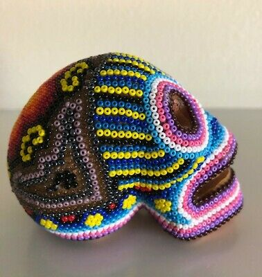 Huichol Beaded Human Skull Mexican Folk Bead Art Dia De Los Muertos Day of Dead
