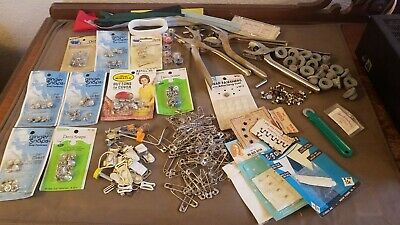 Big Lot of Vintage Sewing Supplies NOS Snaps & Buttons. Hand Tools, Knobs, Pins