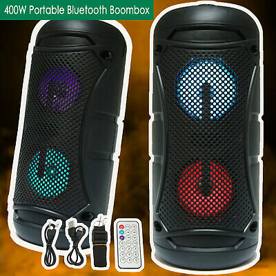 200W LOUD BLUETOOTH SPEAKER Portable Wireless Boombox Aux Rechargeable Stereo
