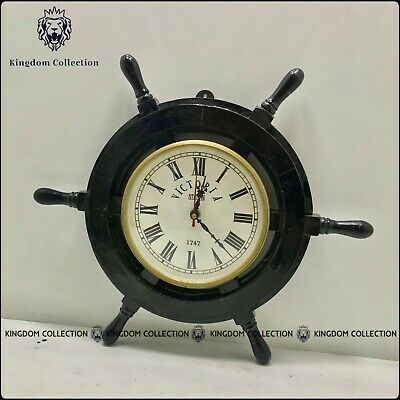 "Wooden 15""Nautical Ship Steering Wheel Pirate Clock Home Decor Fishing Wall Boat"