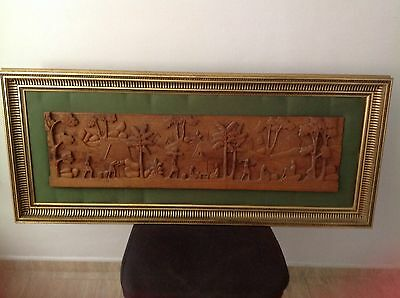 Antique Hand Carved Wooden Picture, Framed, Heavy Frame. French, Spanish.