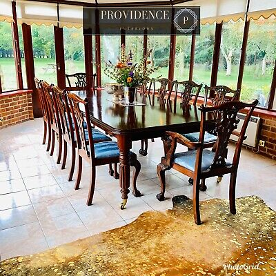 Victorian Wind Out Dining Table & 10 Chippendale Style Chairs 4'7 W x(6'9-8'9 L)