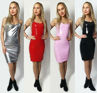 Womens Ladies Vinyl PU Cami Sleeveless Straps Party Fashion Midi Dress