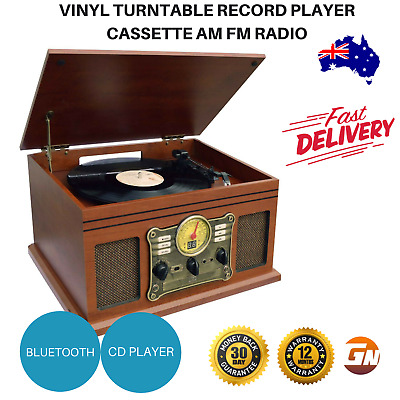 Vinyl Turntable Record Player Casette AM FM Radio CD USB Bluetooth Vintage NEW
