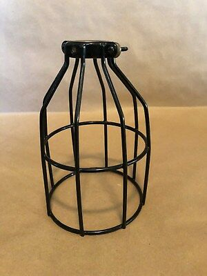 2 Black Bulb Guard Clamp On Lamp Cage  Industrial Steampunk Look