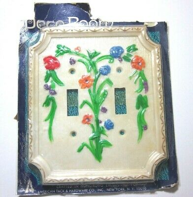 American Tack Hardware Bouquet Floral 2 Gang Double Switch Plate Cover Vintage 1