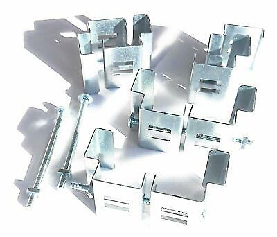 """Postfix Slotted Concrete Fence Post Brackets to Fit 4"""" x 4"""" Posts 4 SETS clamps"""