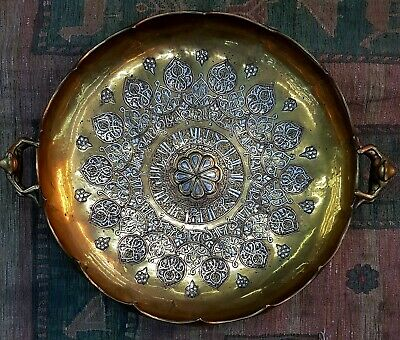 1650s Antique Bronze Carved with Silver Islamic Unique Antique Huge Rare Tray