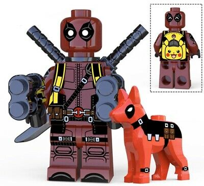 2019 ~ Deadpool with Pikachu backpack + Dogpool  LEGO minifigures *BRAND NEW*