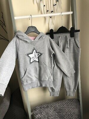 Grey Baby  Girl Cotton Star Jumper Trousers Pants Tracksuit 3 Years