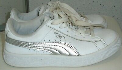 Girls Puma Basket White Silver Trainers Uk 13 Eur 32 Sneakers Pumps 36846902