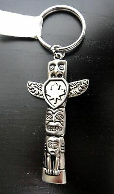 Totem Pole Key Ring Chain Silver Colored Cowichan Indian NWT