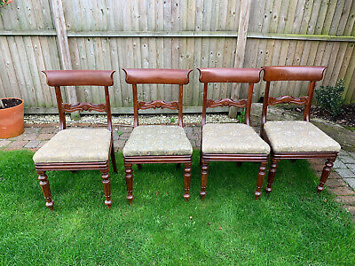 Set of 4 Victorian dining chairs - solid mahogany - upholstered seats