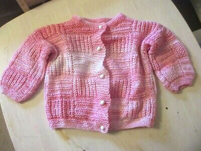 HAND KNIT BY NANA  VINTAGE  Girls PINK CARDIGAN/JACKET   AGE 3-4 years  APPROX.