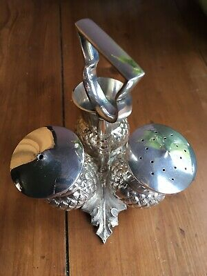 Antique Silver Plated Scottish Thistle Cruet Set Salt & Pepper Mustard Pot