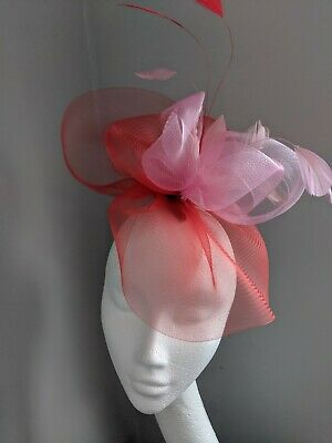 Red And Pink Crinoline Fascinator On Clip Races Weddings
