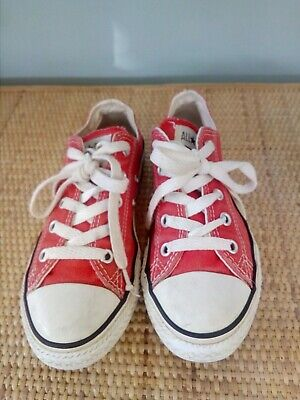 Girls Red/white Canvas Shoes , Size 1.5 , Converse All Star