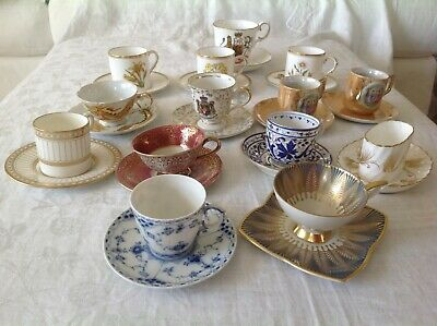 Collectible vintage bone china lot of 14 sets cups/saucers and demitasse cups/
